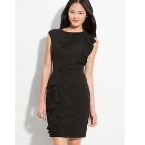 Calvin Klein Black Ruffle Sheath Dress